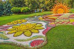 Blomsterutställninglandskapet parkerar i Kiev Arkivbild