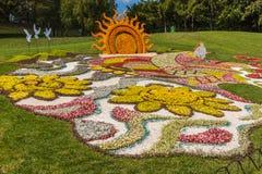 Blomsterutställninglandskapet parkerar i Kiev Fotografering för Bildbyråer