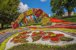 Blomsterutställninglandskapet parkerar i Kiev Arkivfoto
