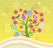 Blomstra trädet och lycklig påsk Arkivfoton