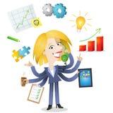 Blond affärskvinna för Multitasking stock illustrationer