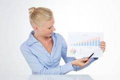 Blond affärskvinna som pekar ett diagram med pennan Royaltyfri Fotografi