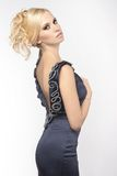 Blond amazing girl in black clothes Royalty Free Stock Image