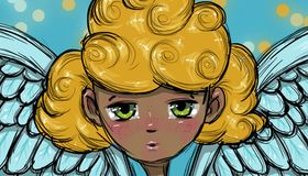 Blond angel face, illustration Royalty Free Stock Images