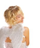 Blond angel girl. Isolated on white background Royalty Free Stock Images