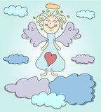 Blond angel with purple wings Stock Photography