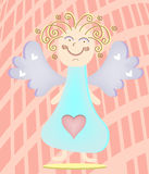 Blond angel with violet wings, blue dress with big Stock Image