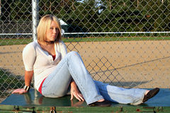 Blond At Baseball Field 2 Royalty Free Stock Photography