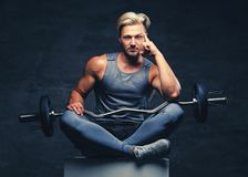 A blond, athletic male dressed in a grey sportswear holds barbel. A blond, athletic male dressed in a grey sportswear sits on a white wooden box and holds barbel royalty free stock image