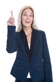 Blond attractive business woman has an good idea isolated over w Royalty Free Stock Photography