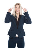 Blond attractive female trainee has an idea isolated over white Royalty Free Stock Photo