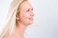 Blond auf Weiß Stockfoto