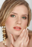 Blond avec les yeux verts Images stock