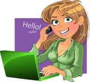 blond bärbar datortelefonkvinna stock illustrationer