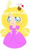 Blond babeczki Princess W Różowiący Ubierający Zdjęcia Stock
