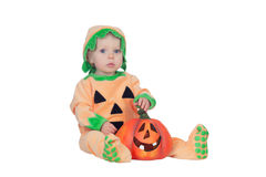Blond baby in pumpkin suit Royalty Free Stock Photography
