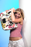 Blond with bag 2 stock photo