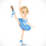 Blond ballerina girl dancing in blue dress Royalty Free Stock Photo