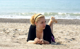 Blond on the beach Stock Image