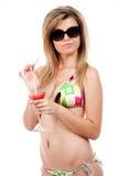 Blond beachbabe in studio Stock Photos