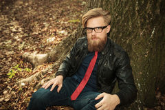 Blond beard fashion man sitting near a tree Stock Photos