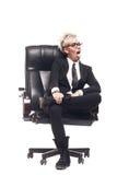 Blond beautiful business lady in white shirt eyeglasses black su Stock Photos