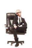 Blond beautiful business lady in white shirt eyeglasses black su Royalty Free Stock Photo