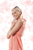 Blond beautiful girl standing and smiling Royalty Free Stock Photos
