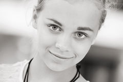 Blond beautiful girl teenager closeup portrait Royalty Free Stock Photos