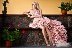 Blond beautiful luxury woman Royalty Free Stock Photography