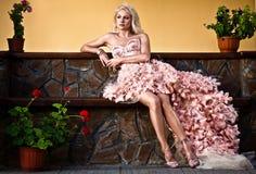 Blond beautiful luxury woman royalty free stock photography