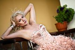 Blond beautiful luxury woman Stock Images