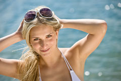 Blond beautiful woman enjoy summer sun Stock Image