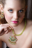 Blond Beautiful Woman In Green Royalty Free Stock Photos