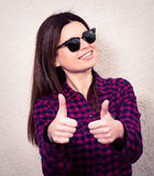 Blond beautiful woman with thumbs up Stock Photos