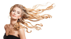 Blond beauty with amazing hair. stock image