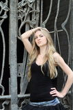 Blond beauty girl in black Royalty Free Stock Photos