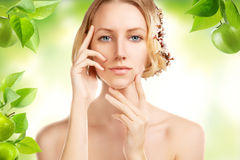 Blond beauty girl with deep retouch spring concept Royalty Free Stock Image