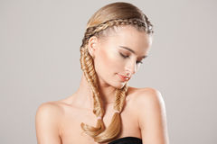 Blond beauty with healthy hair. Portrait of blond beauty with amazing long healthy hair royalty free stock photo