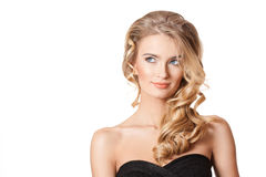 Blond beauty with healthy hair. stock photos