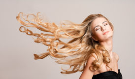 Blond beauty with healthy hair. stock photography