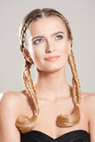 Blond beauty with healthy hair. Portrait of blond beauty with amazing long healthy hair stock image