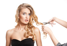 Blond beauty with healthy hair. royalty free stock photography