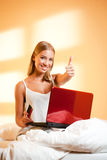 Blond beauty with laptop. Stock Image
