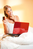 Blond beauty with laptop. Stock Photos