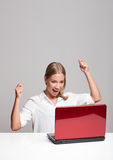 Blond beauty with laptop. Stock Images