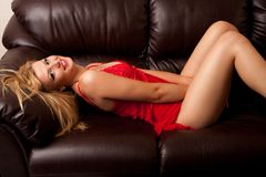 Blond beauty in lingerie Stock Photography