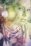 Blond beauty in pearls royalty free illustration