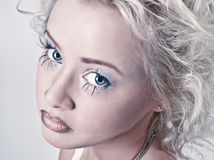 Blond beauty portrait with original make up Stock Image