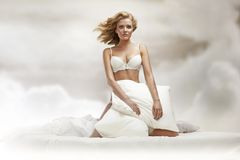Blond beauty in sky Stock Images